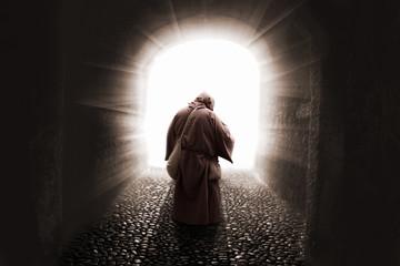 blissed Friar with faith illuminated by god