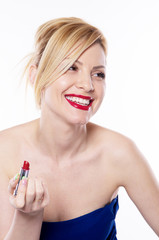 the blonde woman with lipstick isolated