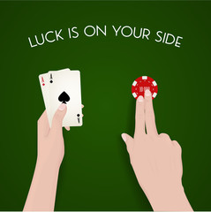 Gabling and luck, dealer, green cloth, fortune, easy money, live