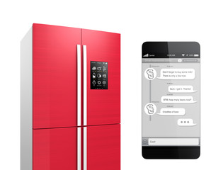 Chat with refrigerator for IoT concept.