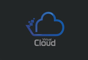 Virtual cloud logo vector