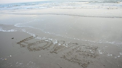 Write word Love on the Hat Chao Samran beach