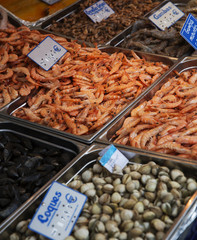 Large Group of Shrimps and mussels at the Seafood market in Pari