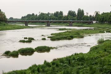 river flow in town and green grass on banks