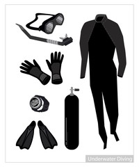 Set of Scuba Diving Equipment on White Background