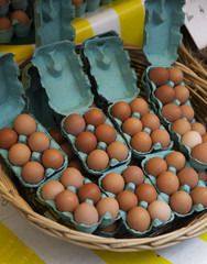 Large Group of Brown Eggs at the Market in Paris