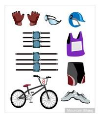 Set of Mountain Bike Equipment on White Background