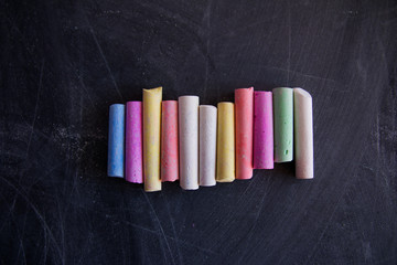 colored chalk on the chalkboard