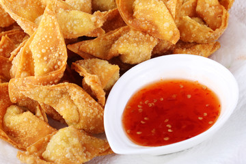Fried dumpling and sauce