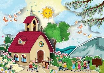 Church with children