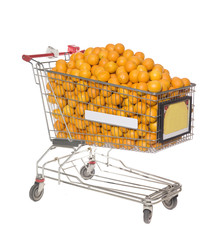Shopping Cart with a large group of Oranges