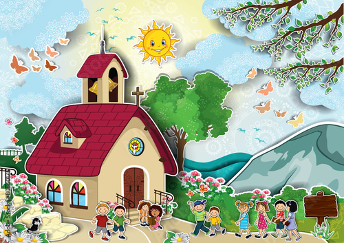 Church with children - 80860175