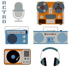Retro media technology icons