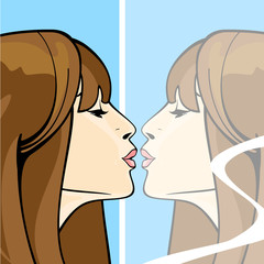 Brunette girl kissing her own reflection in a mirror