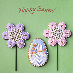Happy Easter card with home-baked  cookies