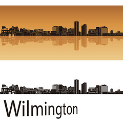 Wilmington skyline in orange background