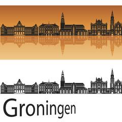 Groningen skyline in orange background