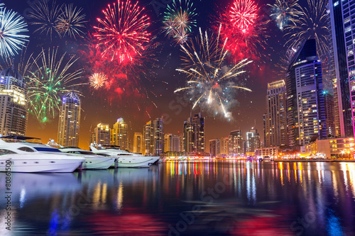 Fireworks displayon the sky in Dubai city, UAE
