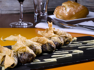Blood sausage wrapped in puff pastry