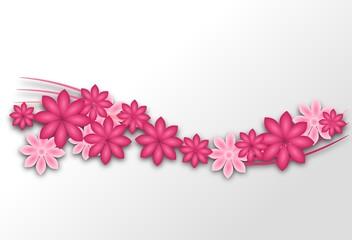 White background with pink flowers