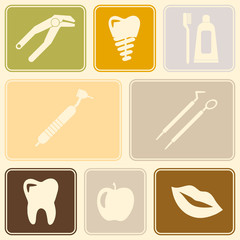 Seamless background with dental symbols for your design