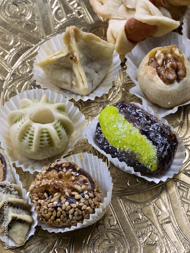 Close-up of typical Moroccan pastries
