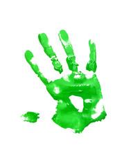 Green handprint on white