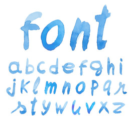 Handwritten blue font. Watercolor. Vector illustration.
