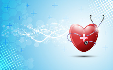 heart and stethoscopes abstract healthcare on blue background