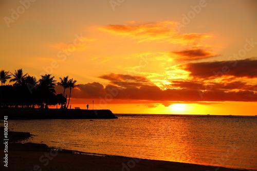 海岸の日没