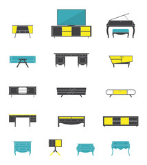 Icon set of home and office furniture interior in flat design .