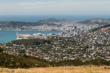 aerial view of Wellington harbor in New Zealand