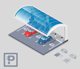 Electric car parking with roof - 80863955