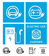 Electric car charging symbols