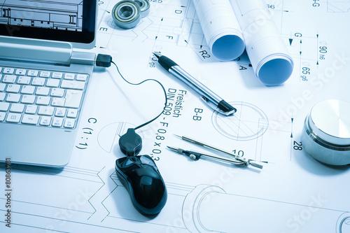 Leinwanddruck Bild Konstruktion, technische Zeichnung , Symbolfoto