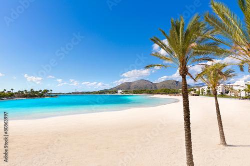Leinwanddruck Bild Platja de Alcudia beach in Mallorca Majorca