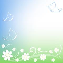 fiorellini e farfalle stilizzate sfondo