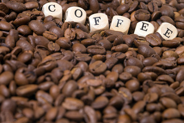 coffee beans and the word coffee