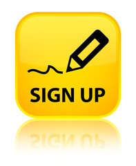 Sign up yellow square button