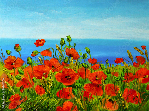 Panel Szklany poppy field near the sea, colorful coast, art oil painting