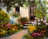 oil painting - house with patio, colorful watercolor
