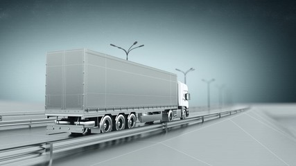 Monochrome cargo truck on a highway back view looping animation