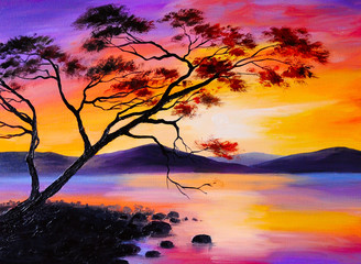 colorful sunset on the lake, oil painting, art watercolor