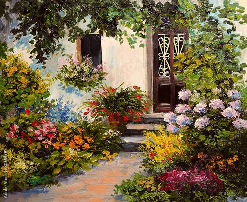 obraz-olejny-dom-z-patio-kolorowa-akwarela