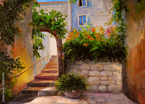 oil painting, street full of flowers, colorful watercolor - 80864790