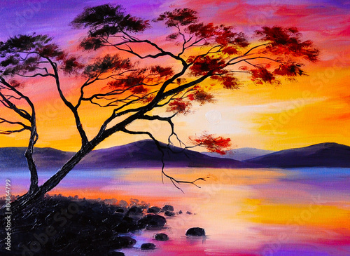 colorful sunset on the lake, oil painting, art watercolor - 80864799