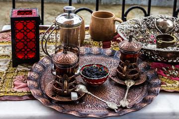 Turkish traditional tea table appoirtments, Turkey