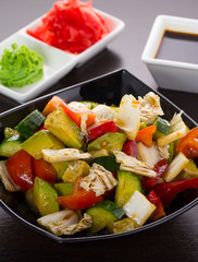 salad of tomatoes, cucumbers, asparagus, red pepper