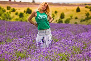 beautiful girl on lavender field