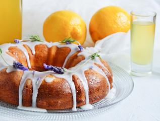 Lemon cake with homemade limoncello and lavander